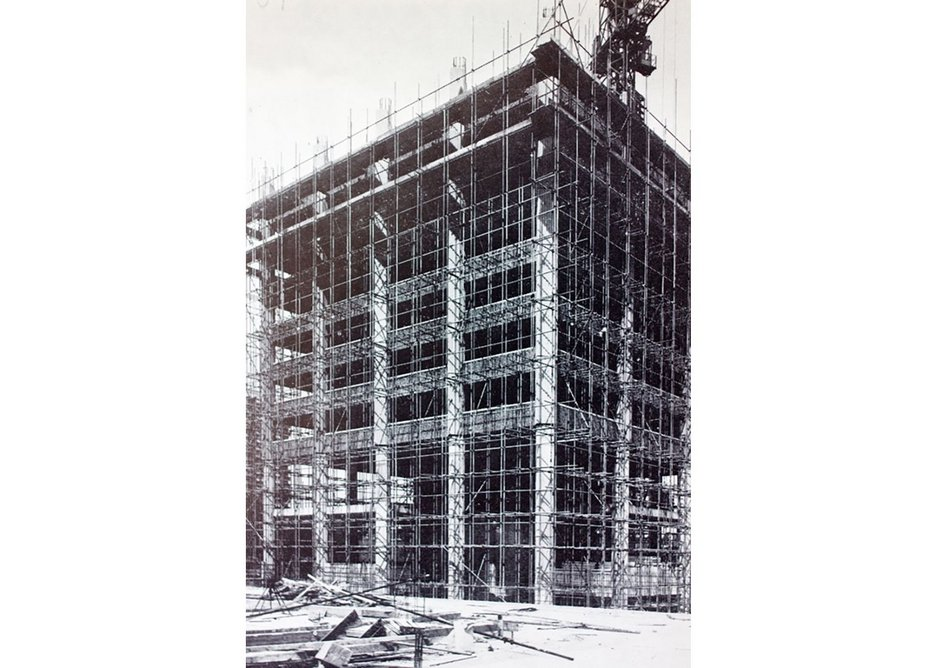 Photo showing construction of Grenfell Tower, reproduced from unknown architectural magazine, early 1970s.