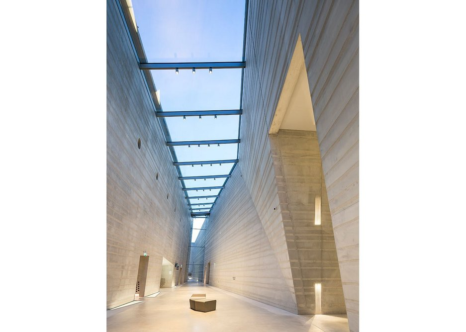 A skylight introduces daylight into the visitor circulation spaces.