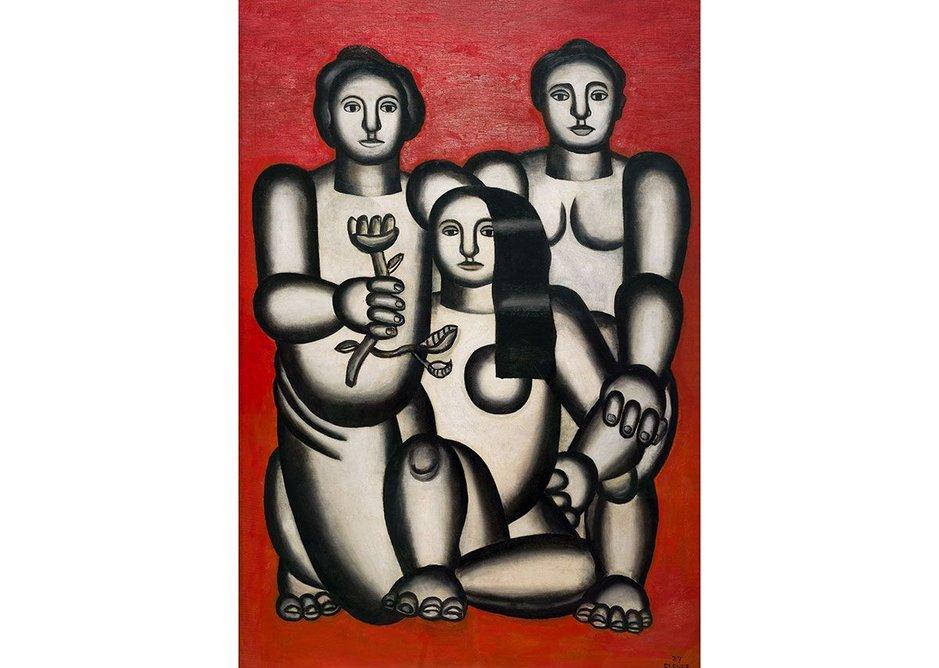 Trois femmes sur fond rouge 1927 by Fernand Léger, 1881-1955. Musée d'art moderne et contemporain de Saint-Étienne Métropole. Achat, 1983.