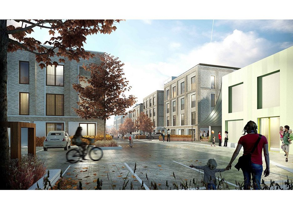 Site for a design competition organised by Palmer, for a community centre in West Green Place. Haringey, north London.
