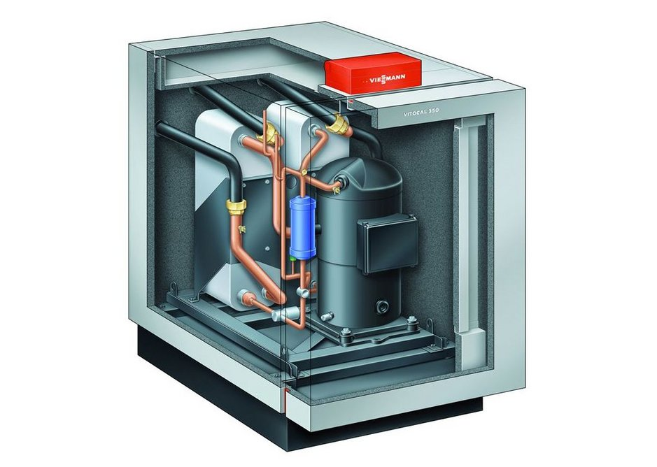 Viessmann's Vitocal 350G brine water heat pump is ideal for use with the ice store system.