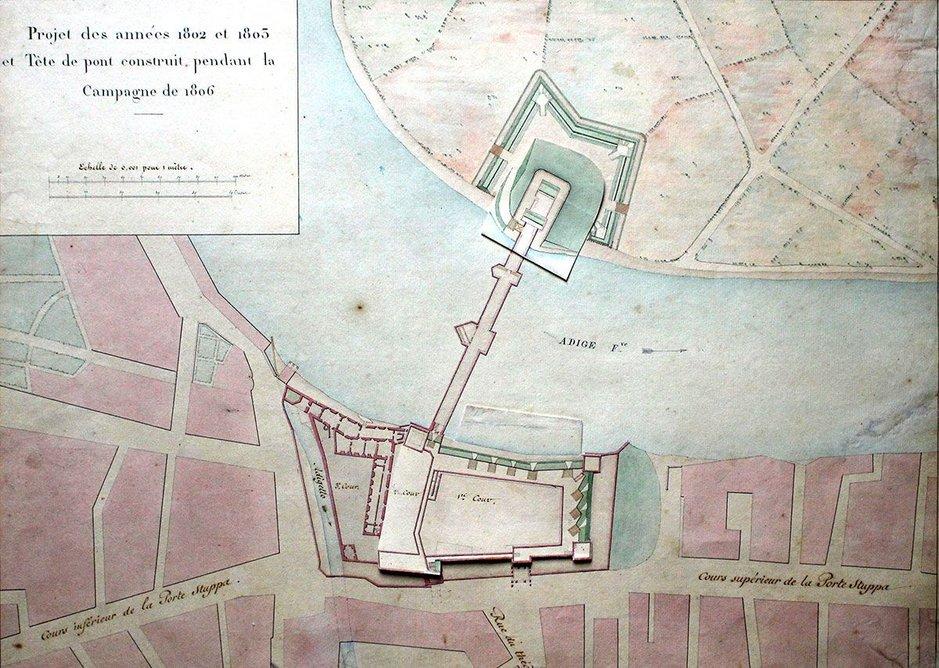 Castelvecchio site plan at the start of the 19th century