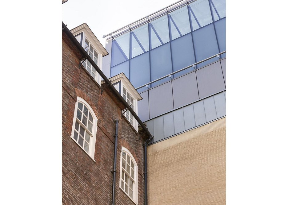 From the private courtyard of Lutyens' Number 7, the lightwells steal a little light