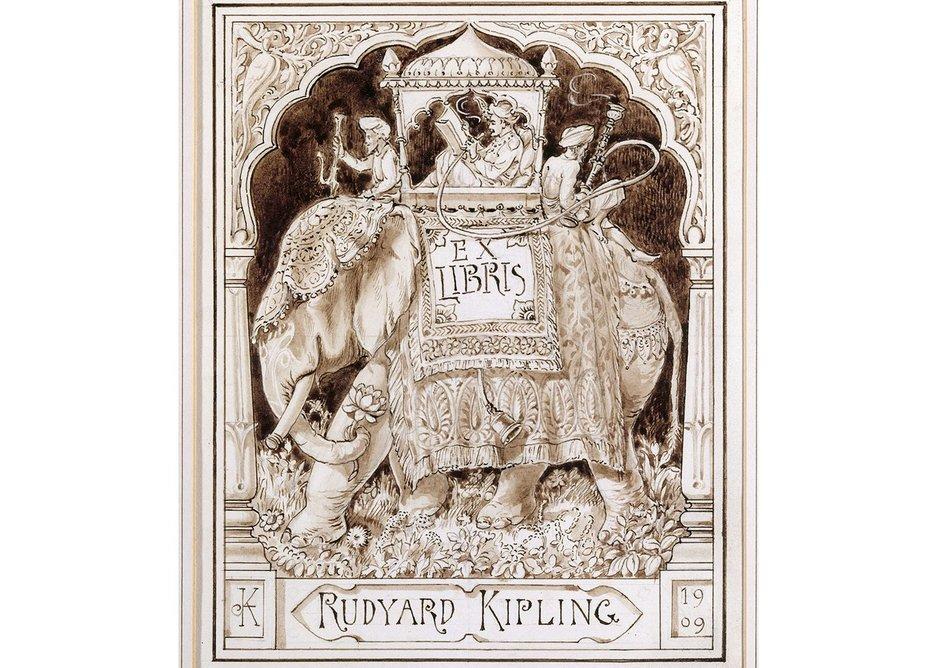 Rudyard Kipling's bookplate 'Ex Libris,' by Lockwood Kipling, 1909.