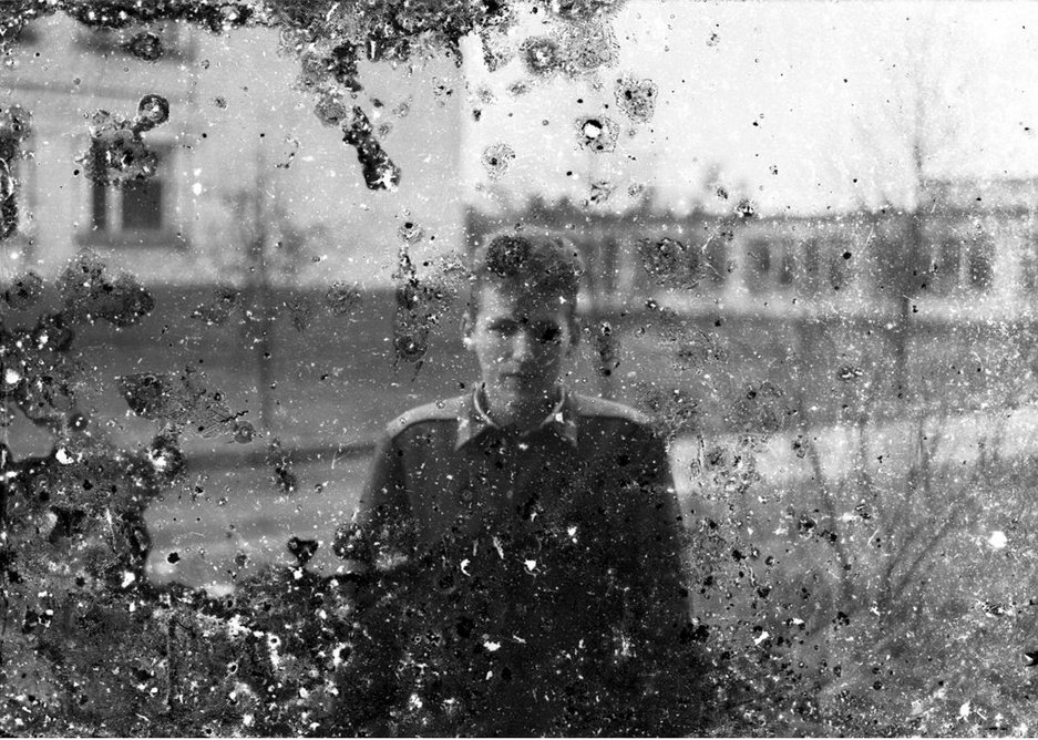 Eric Lusito, Private. Photograph printed from abandoned black and white roll film found inside a Soviet military base, from Traces of the Soviet Empire series, 2009