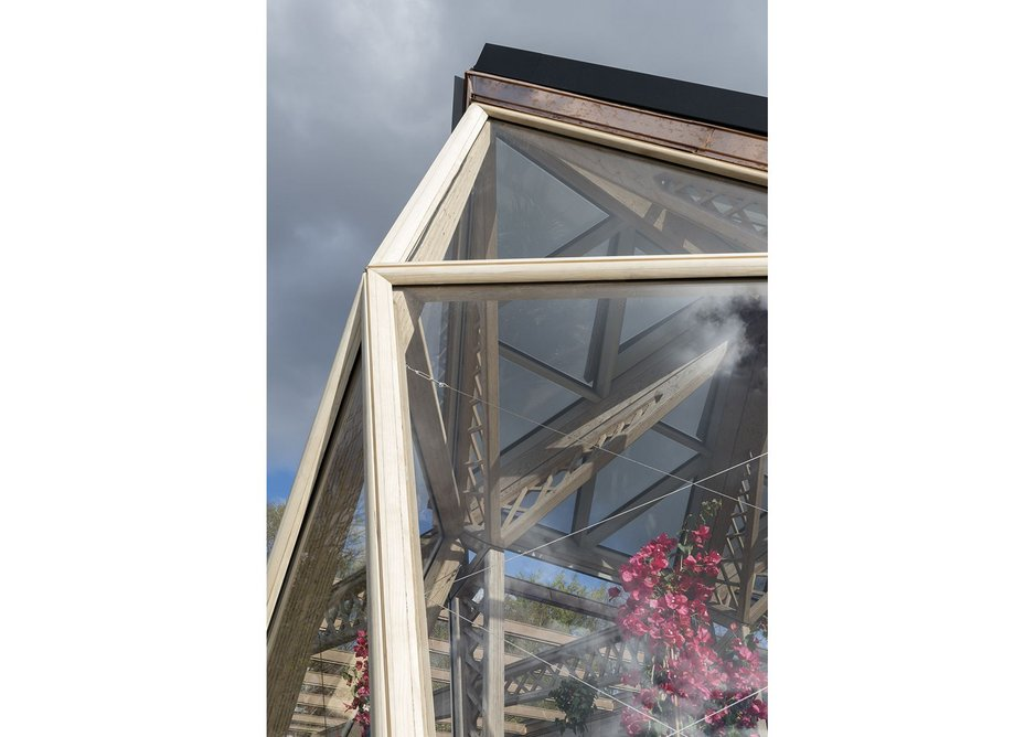 The peak of the glasshouse.
