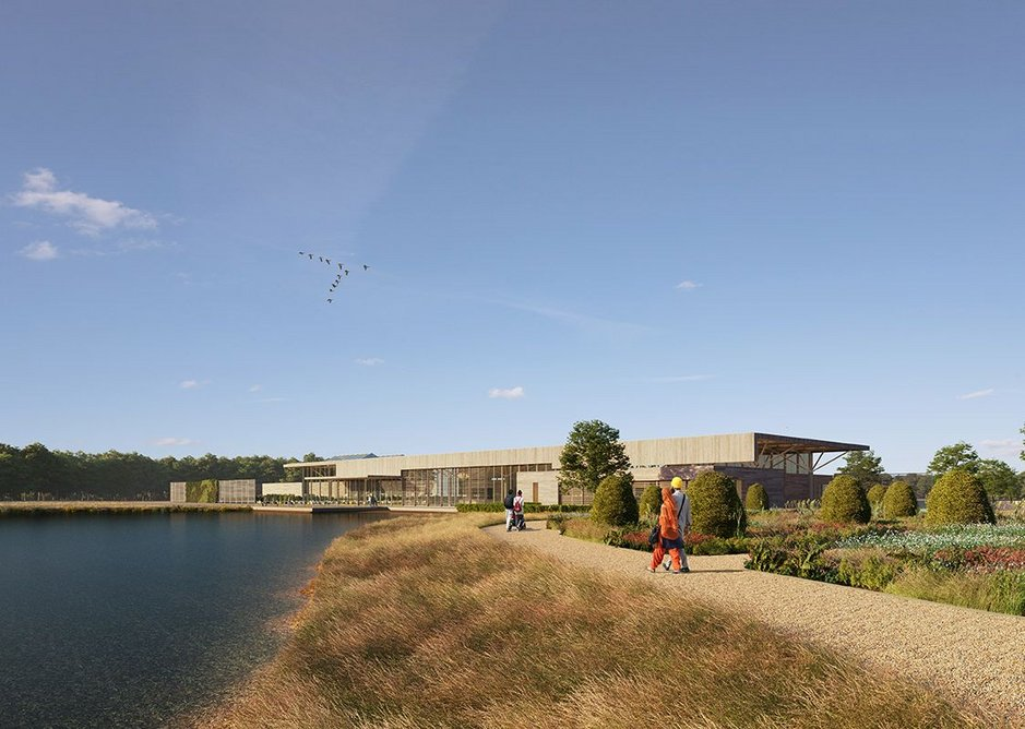 Lake view of Hodder + Partners' visitor centre for RHS Bridgewater, Salford.