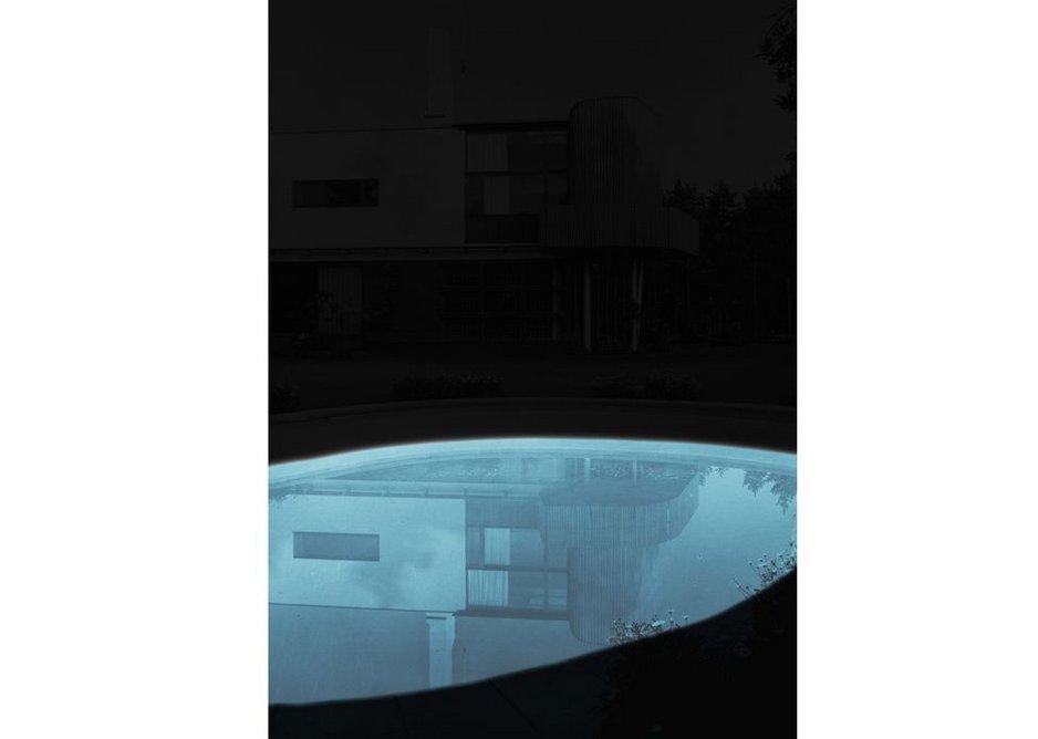 Villa Mairea, shown just as a reflection in water by Ola Kolehmainen.