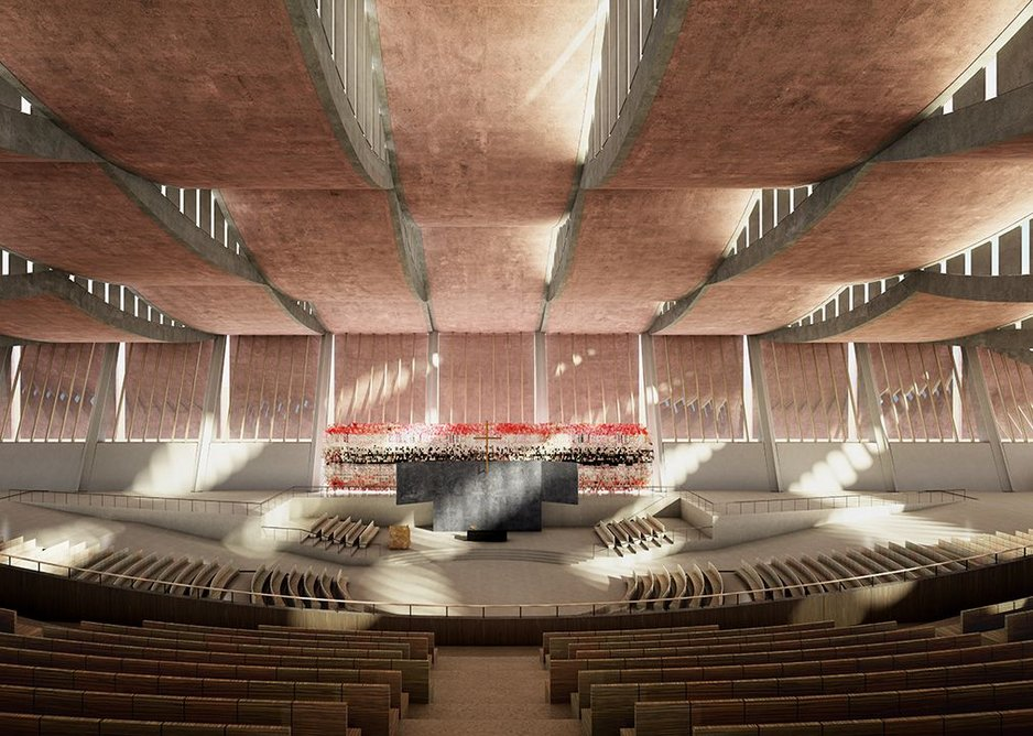 Designed by Adjaye Associates, the National Cathedral of Ghana, will be set within 14 acres of landscaped gardens in Accra.