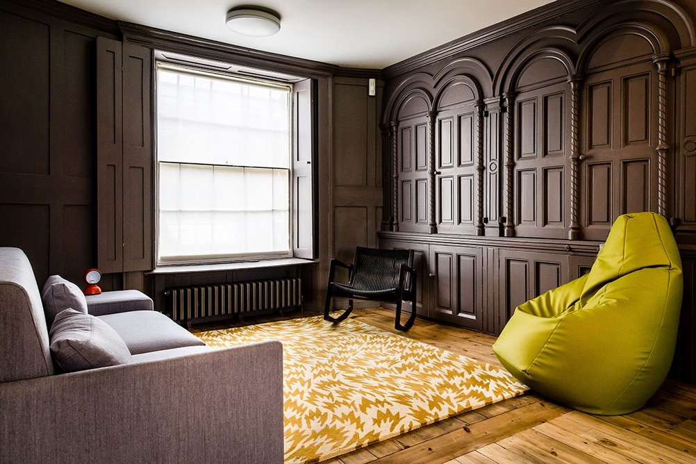 Reading Room, created by Wright & Wright within the Grade I listed almshouses. An adjacent new staircase leads up to a reinstated first floor with collections library and study room.