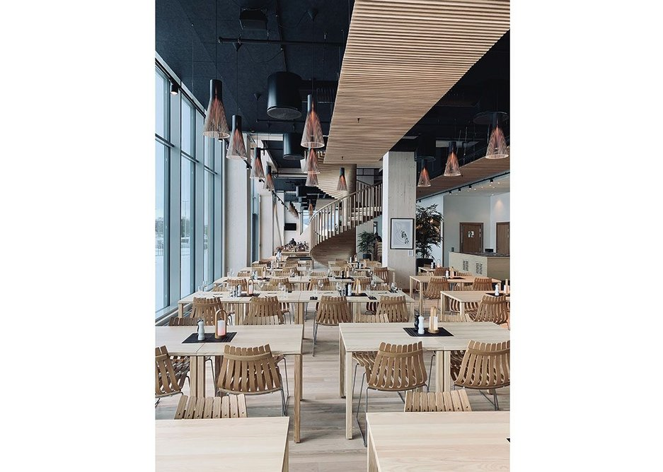 Mjøstårnet interior, timber elements and furniture carried through the design.