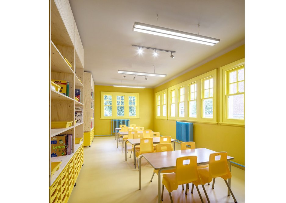 Science and art classroom, the furniture matching the paint schemes .