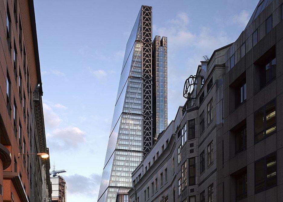 The Leadenhall building seen from the east along Leadenhall Street.