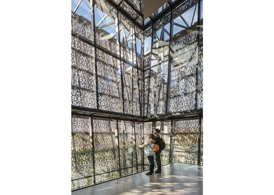 Smithsonian National Museum of African American History and Culture, Washington DC., designed by Adjaye Associates. The filigree cladding was inspired by the history of African American craftsmanship.