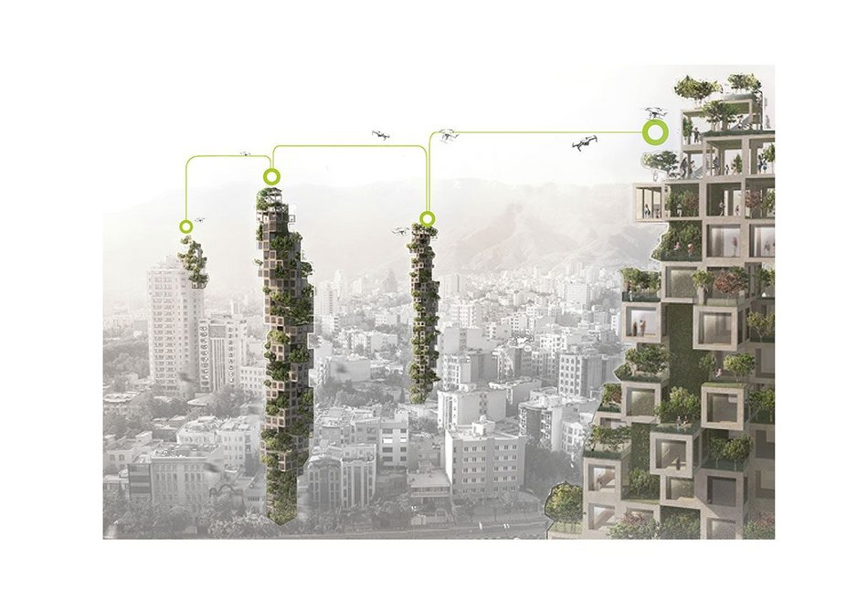 Green Catalyst: Public realm, small scale food production and high density homes come together in a high rise design. These towers are built up from prefabricated timber cubes. Courtyard plans create pleasant airy open space.