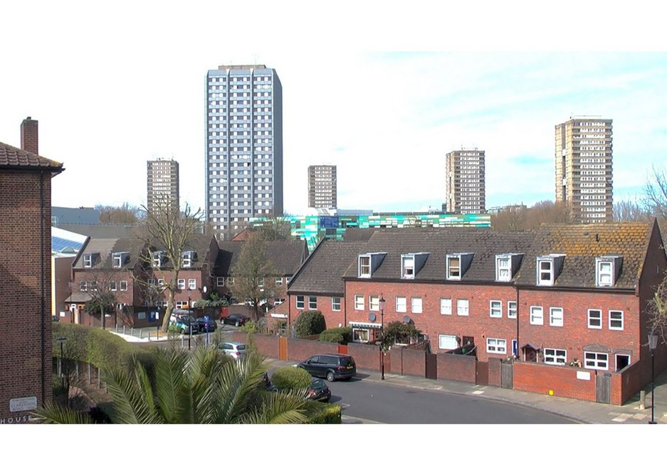Newly clad Grenfell Tower, ringed by the four high rises of Silchester Estate, which is being considered for regeneration.