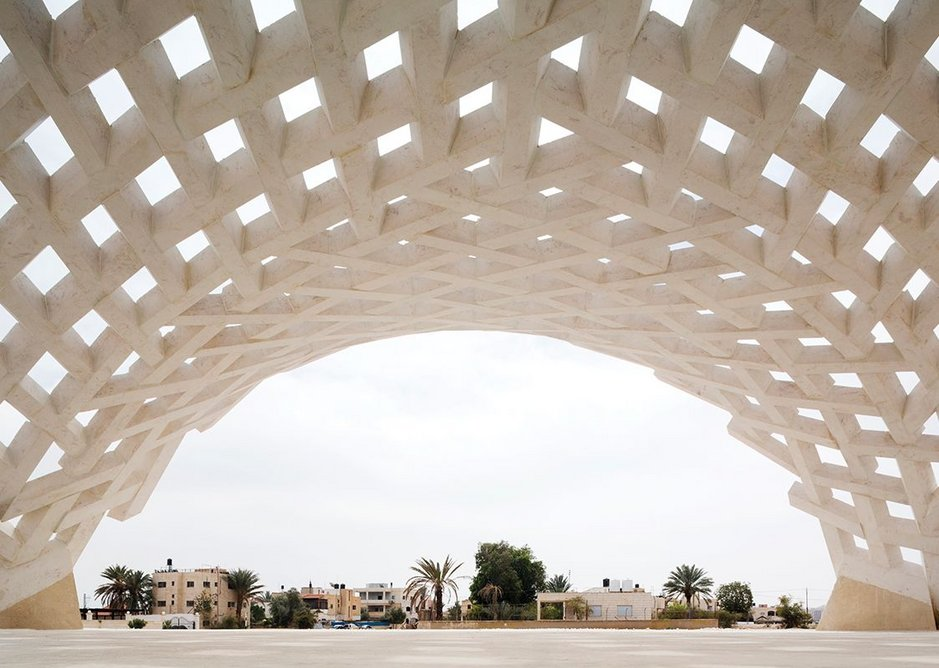 Stone Matters, a stone pavilion in Jericho, Palestine built from 300 interlocking structural stone components and designed by AAU Anastas/Scales and Laboratoire GSA.