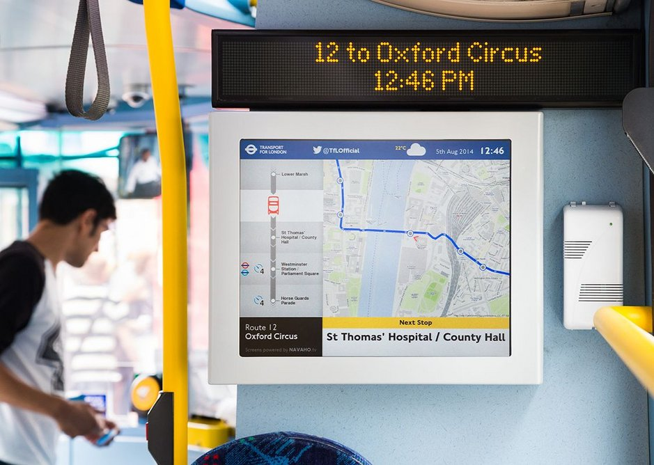 Changing transport one screen at a time on the iBus. TfL Visual Services.