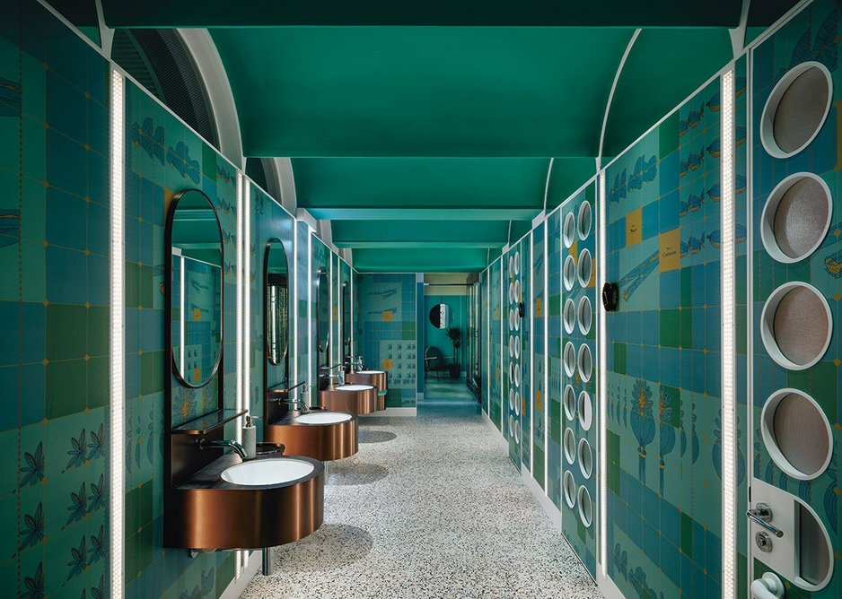 WCs at John Anthony reference the spice trade, with colourful laminate and custom copper mounted vanities.