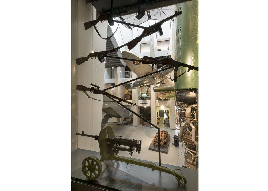 Suspended exhibits in the atrium.
