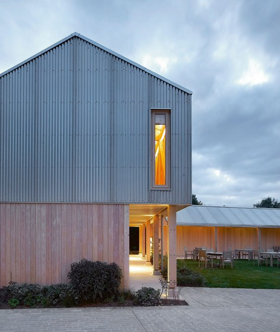 A simple palette of materials: corrugated galvanised steel, Douglas fir and Siberian larch.
