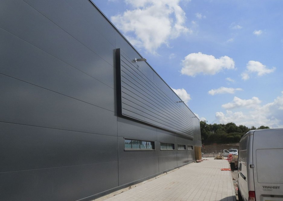 Tata Steel Colourcoat Renew SC wall on the changing block appending the south side of Phase 1A.