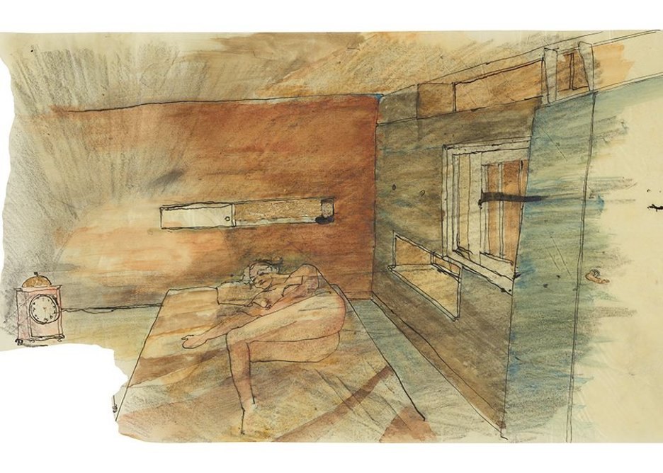 Salter's 'Twilight bedroom with the brass clock'. Window positions allude to possible human ones.