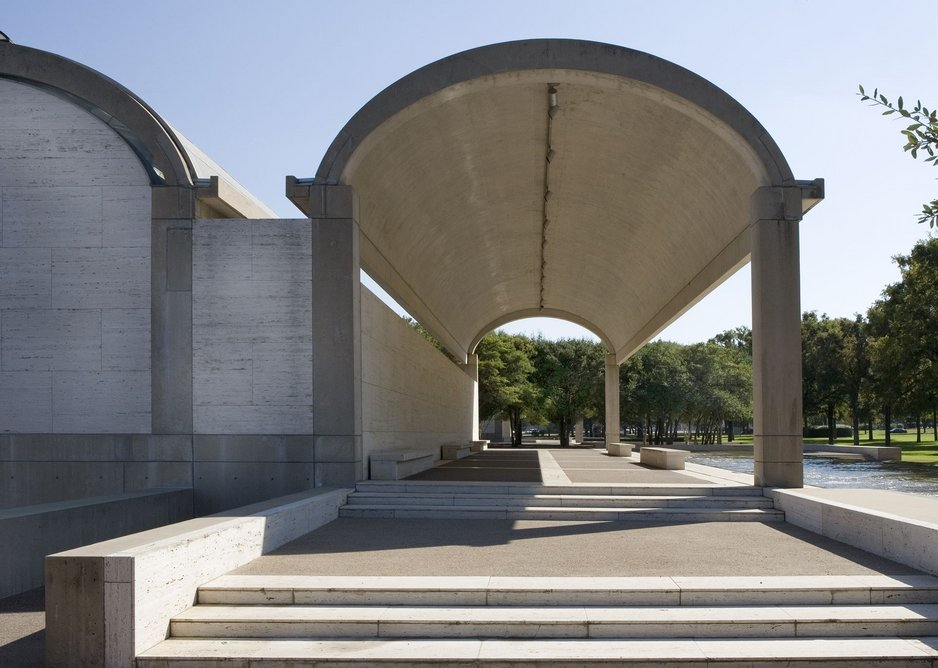 Colonnade on the north side, Kimbell Art Museum, Fort Worth, Texas, 1966-72  Kimbell Art Museum