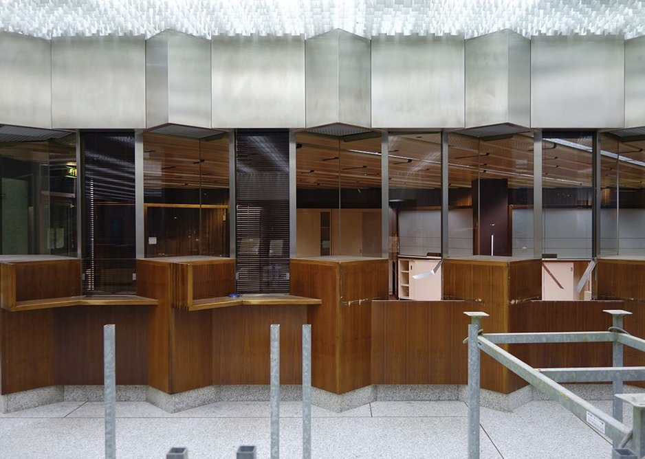 Banking hall components – desks, windows, suspended ceilings – are all considered for recycling.