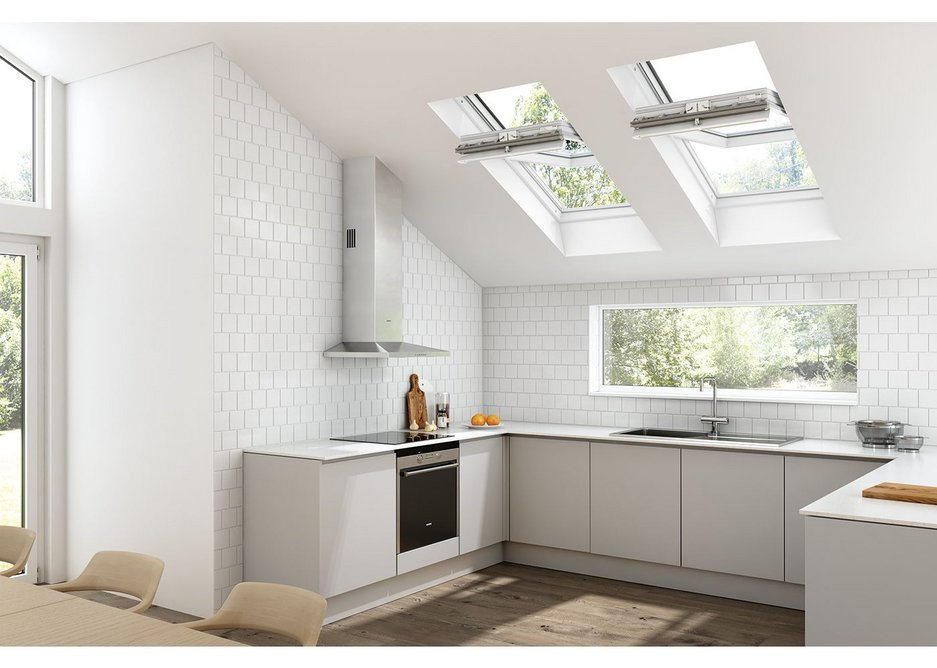 PVC Polar roof windows from Keylite installed in a contemporary kitchen design