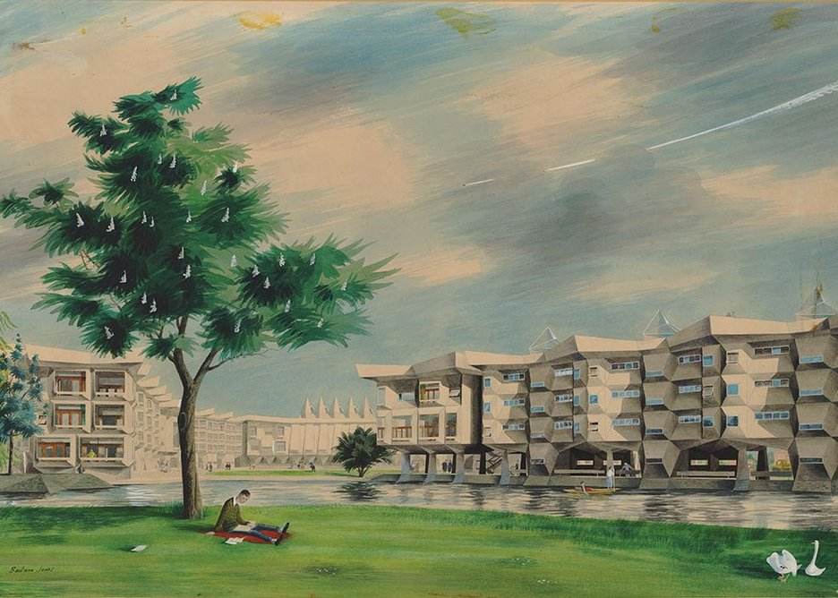 HKPA made their name with this second placed competition entray for Churchill College Cambridge. Evocative Rendering by Barbara Jones.