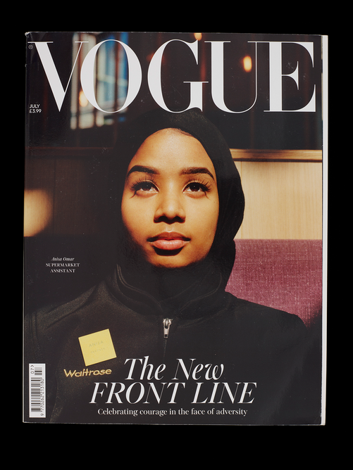 British Vogue, July 2020, which featured cover images of key workers. Photographs by Jamie Hawkesworth, UK. Published by Conde Nast Publications. The image is included in the new Design 1900 – Now gallery at the V&A.
