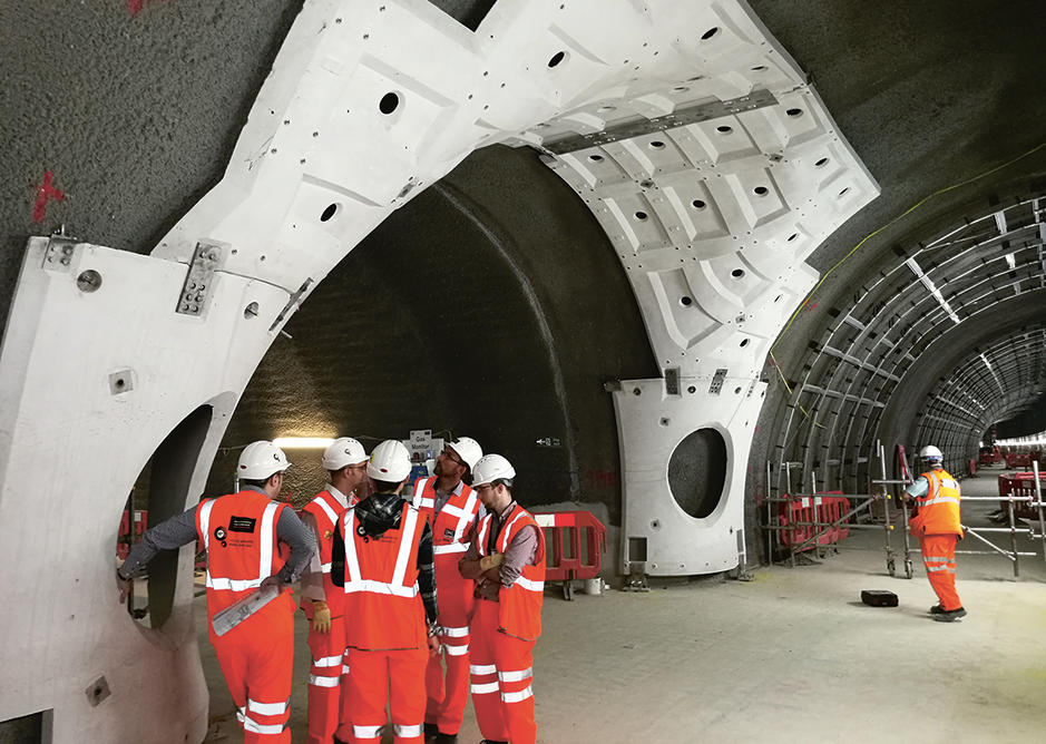 Glass fibre reinforced concrete (GFRC) 'tusks' form a support frame for the GFRC cladding panels to line tunnels for Crossrail.