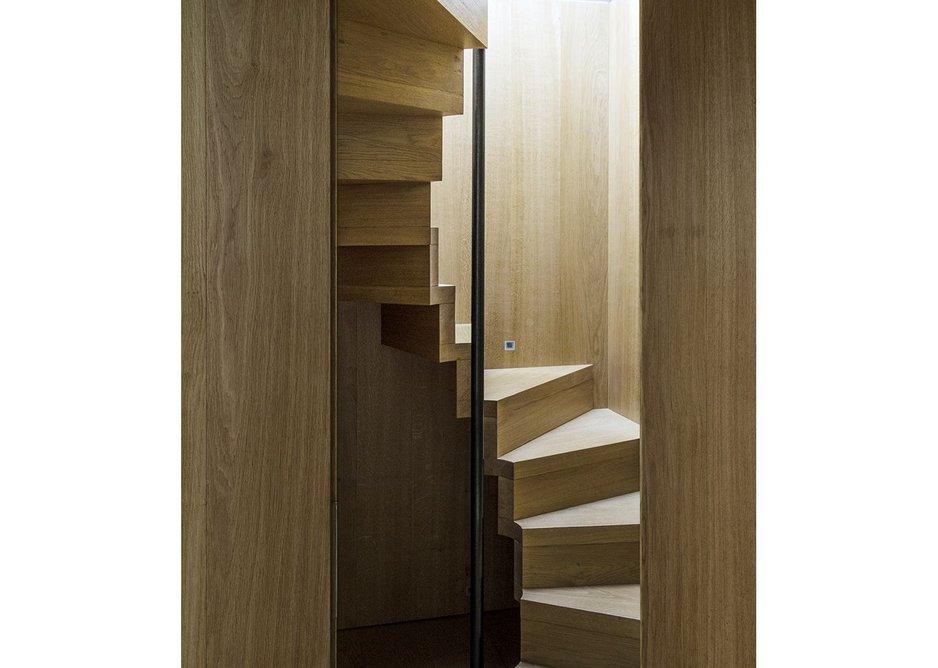 Climbing up to the top floor bedroom.
