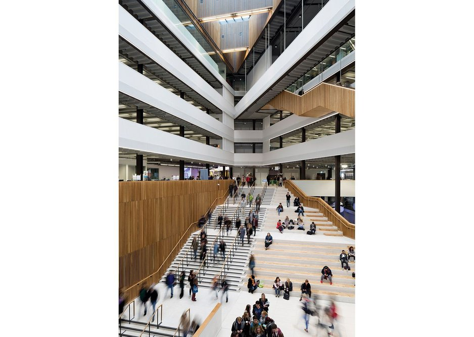 Seven storey entrance atrium acts as civic threshold, circulation and public space