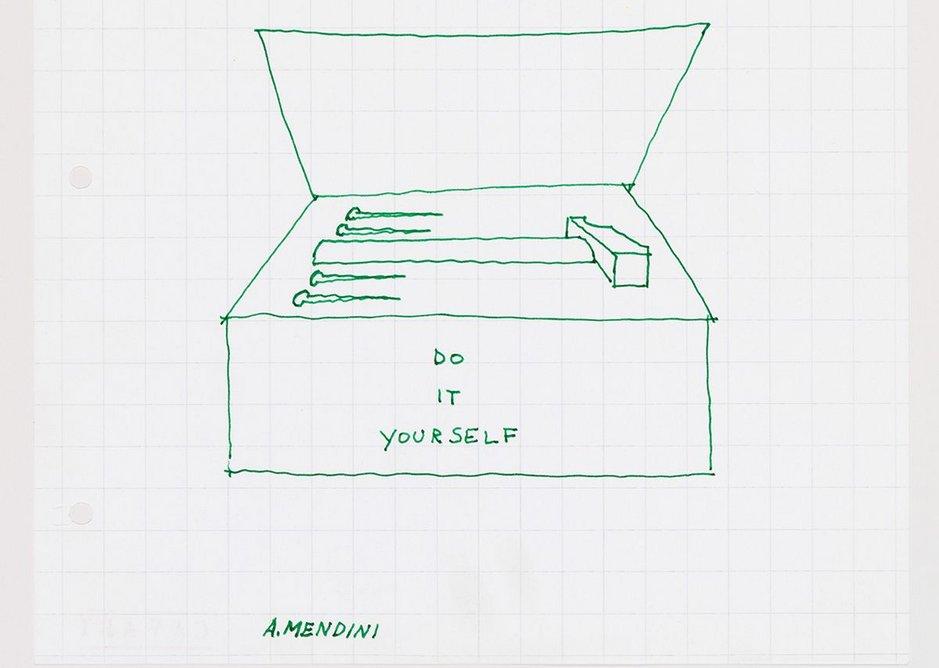 An improvised drawing ('DIY tool box) made by Alessandro Mendini at the Sambuca seminar, 2 November 1974.