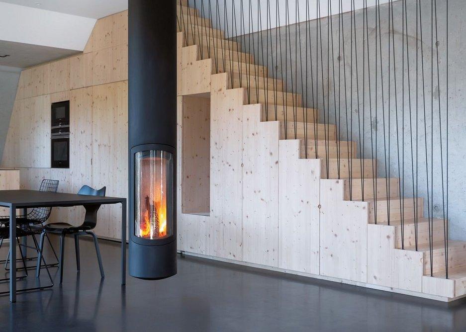 Slimfocus pivoting fireplace.