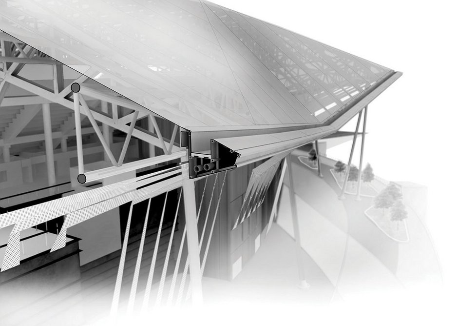 t 3D visualisation showing the gutter detail at the perimeter of the tensile fabric roof.