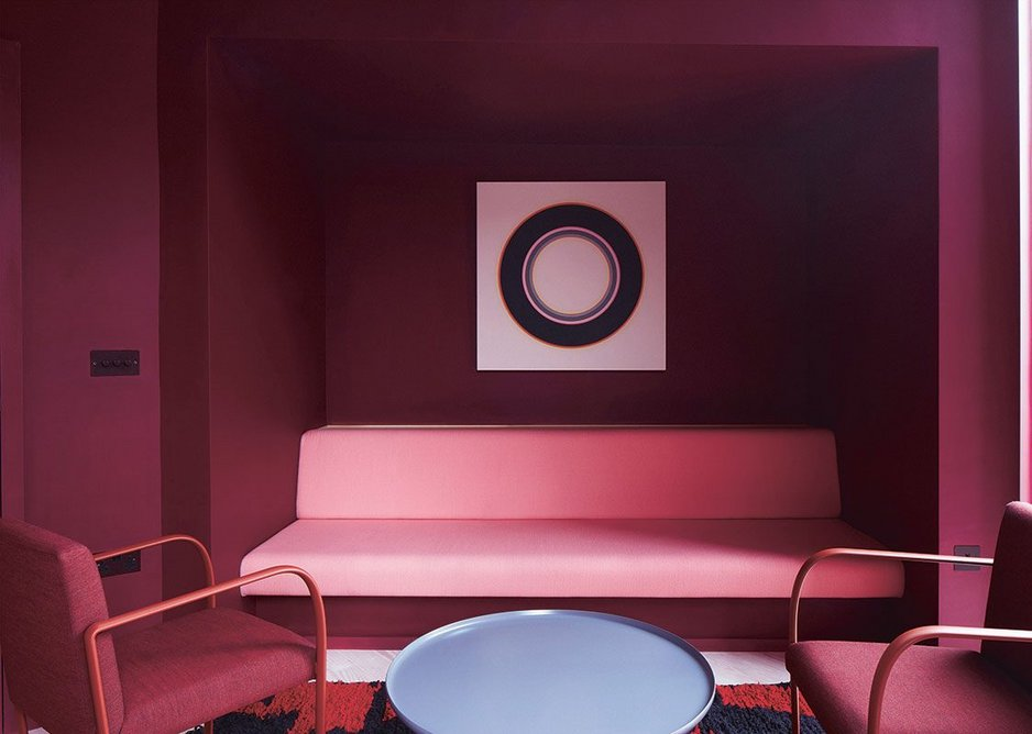 A burgundy room is one of the several 'intimate' therapy spaces.