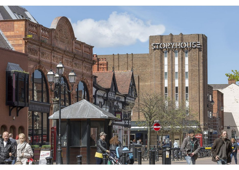 The Odeon, now Chester Storyhouse, opens onto the Town Hall Square.