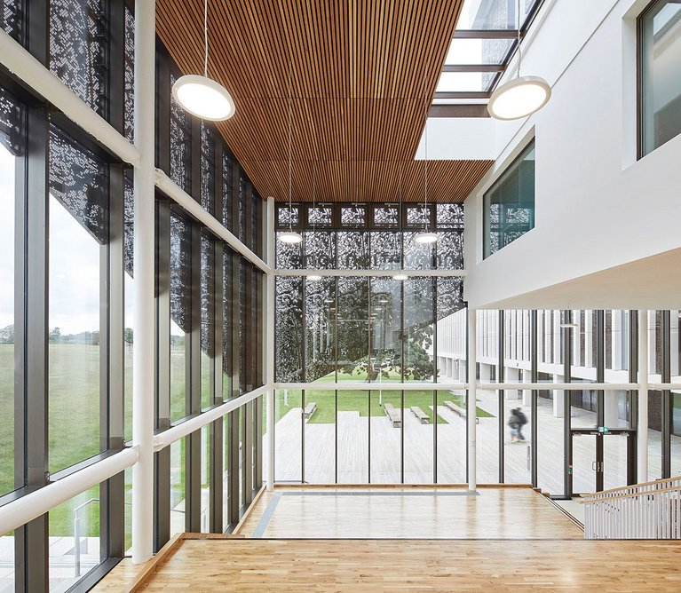 Filigree aluminium panelling drawn over the curtain-walled facade to the main reception area is intended to create a sense of ceremony on arrival.