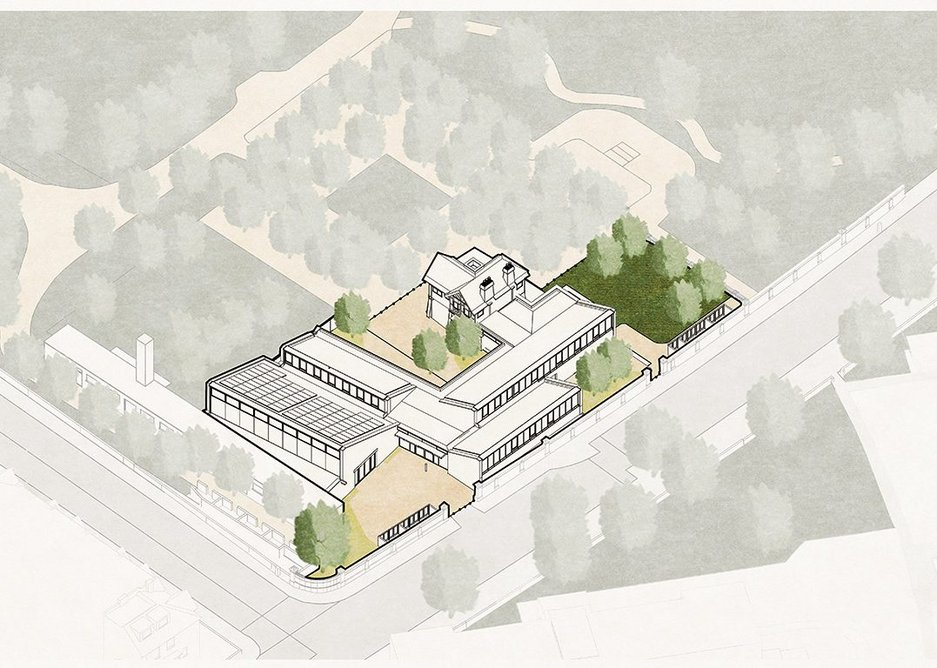 Site axonometric showing the relationship of the entrance to the outer and inner courtyards.