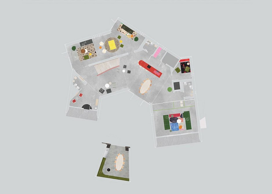The open, spiralling plan allows users to move through and occupy space as they choose. Discrete observation from upper level offices is provided by well-considered sight lines.