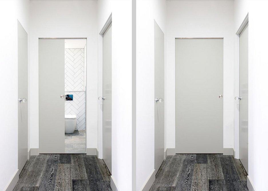 Space saving apartment design using Enigma pocket sliding doors · Credit: Selo