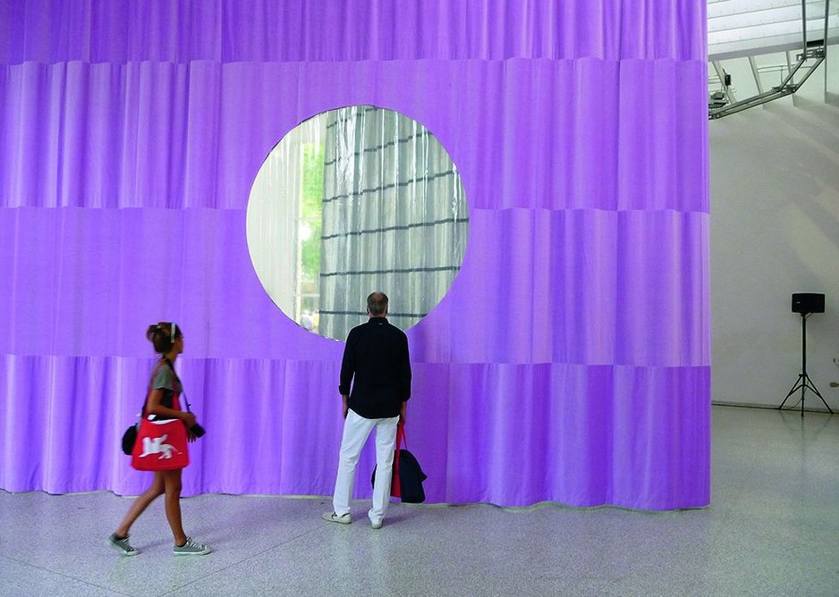 The moving curtain of Petra Blaisse in the Dutch pavilion.