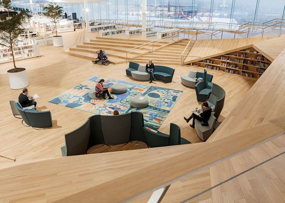 Looking west from the upper level of the children's library.