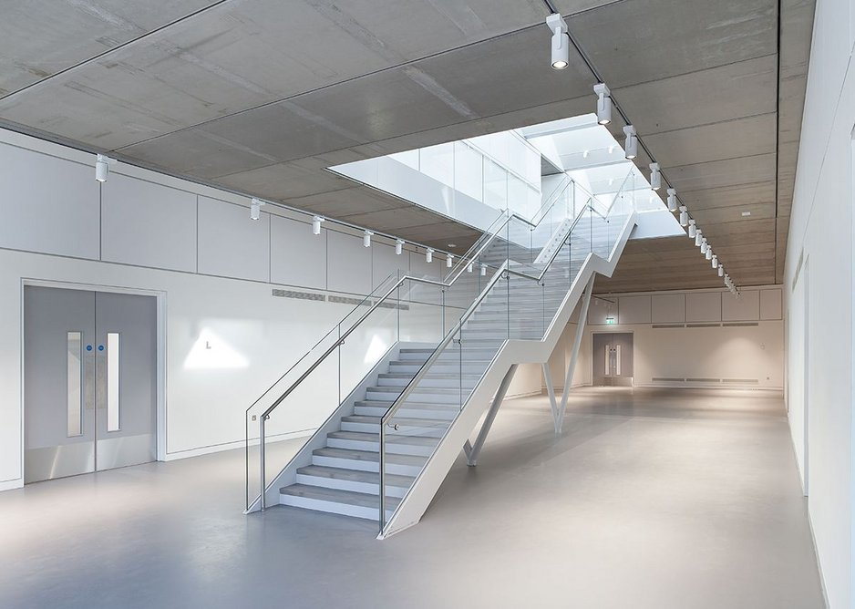 Inside D9. Each staircase is a work of engineering but also suggests something of a gallery.