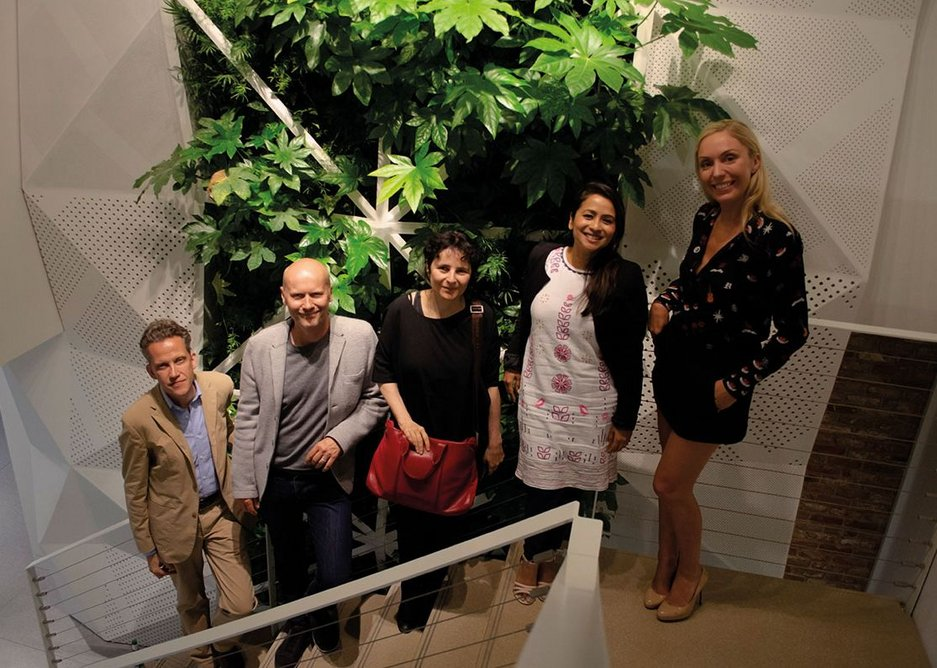 Panel members Stephen Richards, partner, Gillespies; Michael Pawlyn, founder, Exploration Architecture; Ada Yvars Bravo, director, Mangera Yvars Architects; Tumpa Husna Yasmin Fellows, founding director, Our Building Design; Holly Porter, founding director, Surface-to-Air at Knauf Clerkenwell.