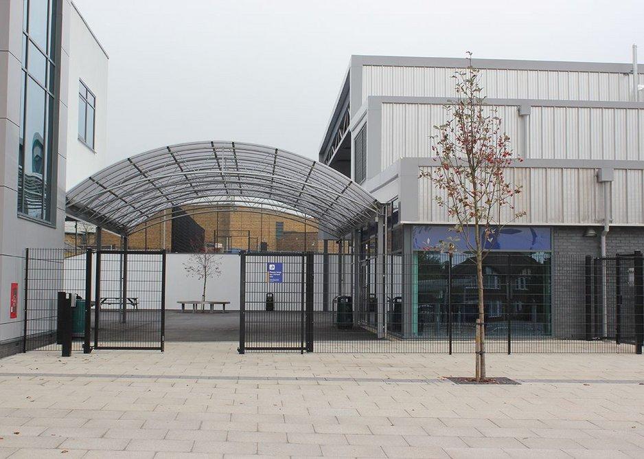 Euroguard double leaf gates at Northwood School, Hillingdon, London, designed by Lizard Landscape Design and Jacksons Fencing.