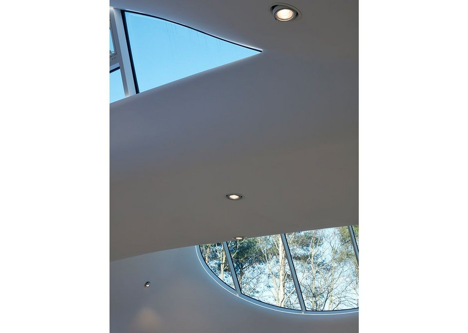 The two north facing windows together looking up to the light.